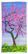 Peach Tree, Painting Beach Towel