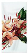 Peachy Ixora Beach Towel