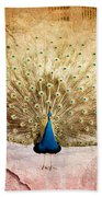 Peacock Bird Textured Background Beach Towel