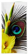 Peacock Feather And Gladiola 3 Beach Towel