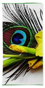 Peacock Feather And Gladiola 4 Beach Towel