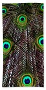 Peacock Feathers Upside Down Beach Towel