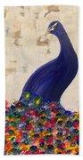 Peacock In My Garden Beach Towel
