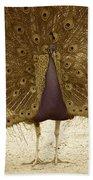 Peacock In Sepia Beach Towel