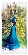 Peacock Watercolor Painting Beach Towel
