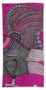 Peacock_pink Beach Towel