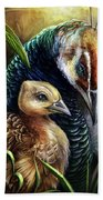 Peahen And Chick Beach Towel
