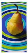 Pear On Plate With Circles Beach Towel