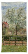 Pear Trees And Flowers At Eragny Beach Towel by Camille Pissarro