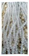 Pearl Beads - White And Beige Beach Towel