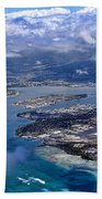 Pearl Harbor Aerial View Beach Towel