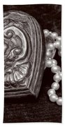 Pearls From The Heart - Sepia Beach Towel