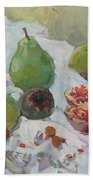 Pears Figs And Young Pomegranates Beach Towel