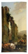 Peasants With Cattle By A Ruined Aqueduct Beach Towel