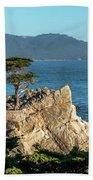 Pebble Beach Iconic Tree With Sun Light At Dusk Beach Towel