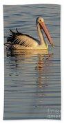 Pelican At Sunset 1 Beach Towel