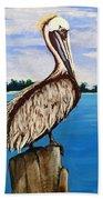 Pelican On Post 2 Beach Towel