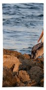 Pelican On The Rocks Beach Towel