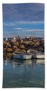 Pelicans At Eden Wharf Beach Towel