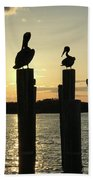 Pelicans At Sunset Beach Towel