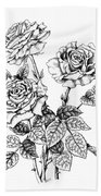 Pen And Ink Roses Beach Towel
