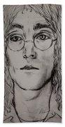 Pencil Portrait Of John Lennon  Beach Sheet