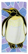 Penguin On Stained Glass Beach Towel