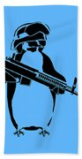 Penguin Soldier Beach Towel by Pixel Chimp