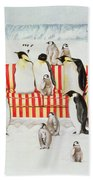 Penguins On A Red And White Sofa  Beach Towel by EB Watts
