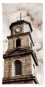 Penryn Clock Tower In Sepia Beach Towel