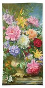 Peonies And Mixed Flowers Beach Towel