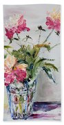 Peonies In Crystal Vase Beach Towel