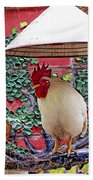 Perched Rooster Beach Towel