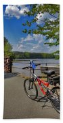 Perfect Weather For Cycling At Lake Brandt Beach Towel