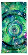 Universe Inside Of Electrons. Periodic Table Of The Elements Beach Towel