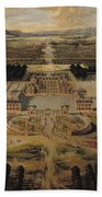 Perspective View Of The Chateau Gardens And Park Of Versailles Beach Towel