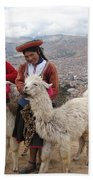 Peruvian Girls With Llamas Beach Towel