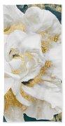 Petals Impasto White And Gold Beach Towel