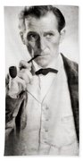 Peter Cushing As Sherlock Holmes Beach Towel