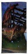 Peter Iredale Shipwreck Under Starry Night Sky Beach Towel