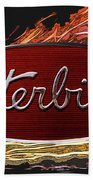 Peterbilt Emblem In Flames Beach Towel