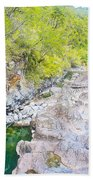 Petrohue River In Vicente Perez Rosales National Park Near Puerto Montt-chile Beach Towel