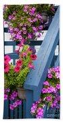 Petunias On Blue Porch Beach Sheet
