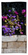 Petunias Through Wrought Iron Window Beach Sheet