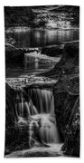 Pewits Nest Waterfalls In Black And White Beach Towel