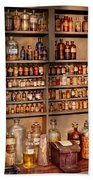Pharmacy - Get Me That Bottle On The Second Shelf Beach Towel by Mike Savad