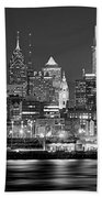 Philadelphia Philly Skyline At Night From East Black And White Bw Beach Towel