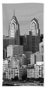 Philadelphia Skyline Black And White Bw Wide Pano Beach Towel