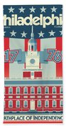 Philadelphia Poster - Independence Hall Beach Towel