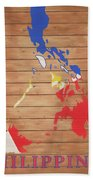 Philippines Rustic Map On Wood Beach Towel